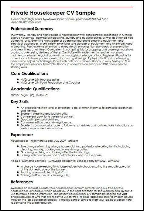Housekeeper Resume by Housekeeper Cv Sle Myperfectcv