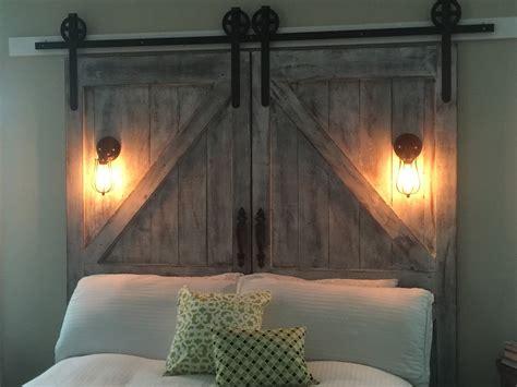 diy door headboard cheaper and better diy barn door headboard and faux barn door track hardware