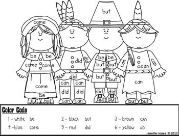 thanksgiving kindergarten sight word roll  color  jen jones
