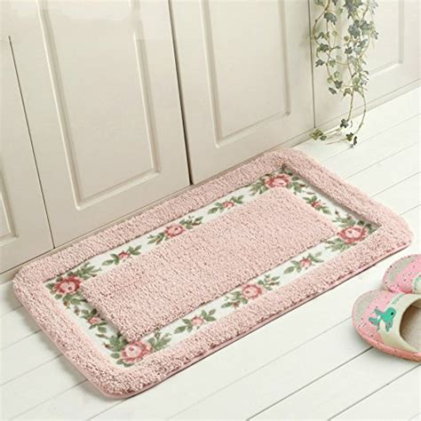 Sytian® Decorative Super Soft Floral Design Rural Style Pretty Rose Pattern Non Slip Absorbent