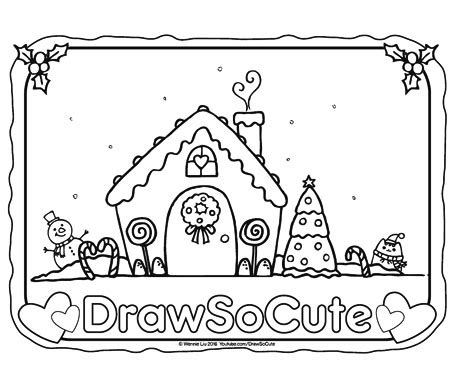 gingerbread house coloring page draw  cute