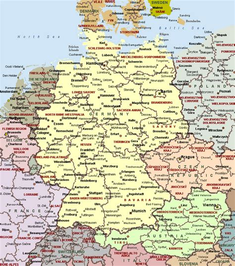 cities  germany  detailed map detailed map  cities