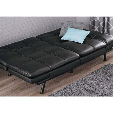 black leather sofa futon mainstays memory foam mattress black faux leather futon