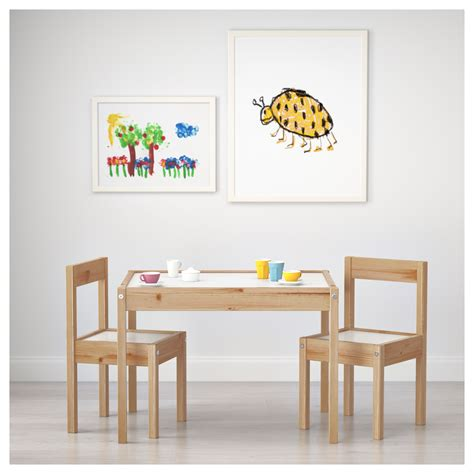 l 196 tt children s table with 2 chairs white pine ikea