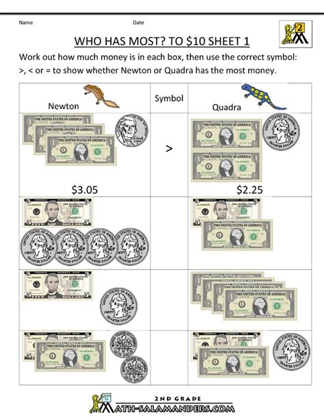 money printable worksheets who has most to 10 dollars homeschool 2nd grade pinterest