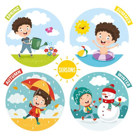 Premium Vector | Illustration of kid and four seasons
