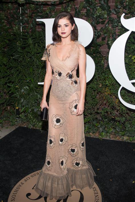 selena gomez nailed  naked dress trend   latest