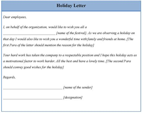 letter template  holiday sample  holiday letter