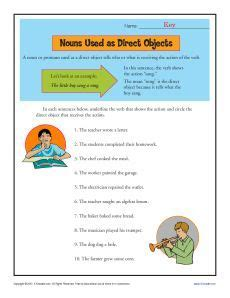 nouns as direct objects worksheet sentence structure
