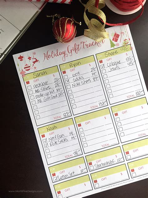 gift tracker free printable included