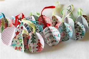 Boule De Noel A Fabriquer : boule de noel en papier cadeau brassline ~ Nature-et-papiers.com Idées de Décoration