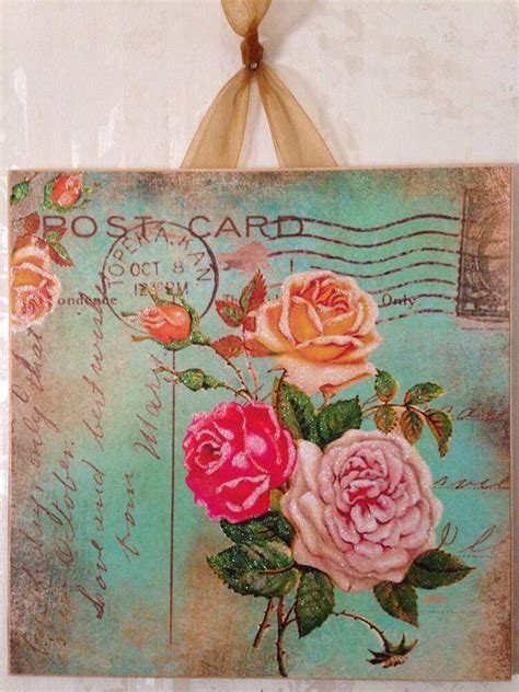 I used 3 coats of white chalk paint, i then distressed its surface leaving some of the metal exposed. Vintage Shabby Roses Green Postcard Wall Decor Sign Plaque ...