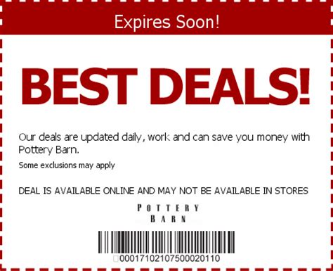pottery barn discounts pottery barn coupons promo codes