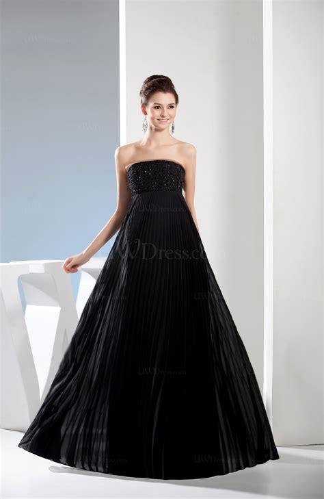 Black Elegant Empire Strapless Sleeveless Floor Length