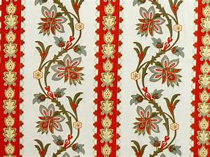 Cotton Fabric French Courtyard Border Red Grey - Cotton Fabric
