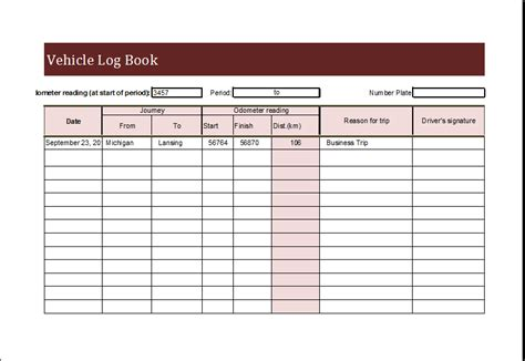vehicle log book template  ms excel excel templates