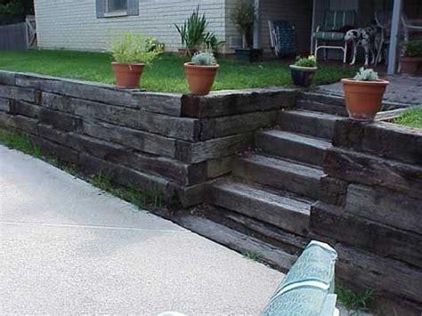 railroad tie retaining walls landscaping retaining