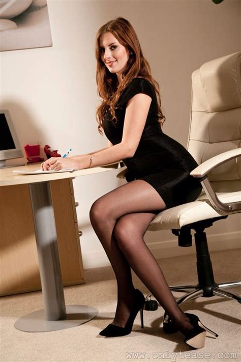Sexy Secretary Crossing Her Sexy Legs In Black Stockings