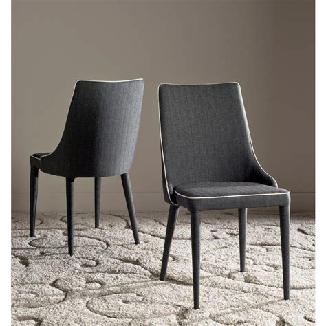 safavieh carrie grey polyester side chair safavieh summerset gray white piping 19 in h linen side