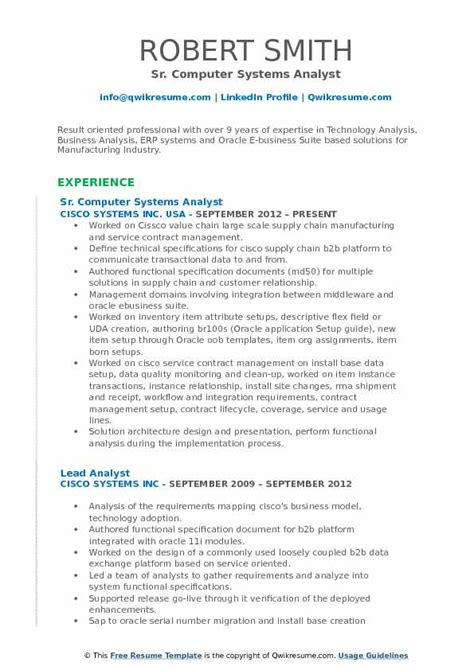 computer systems analyst resume sles qwikresume