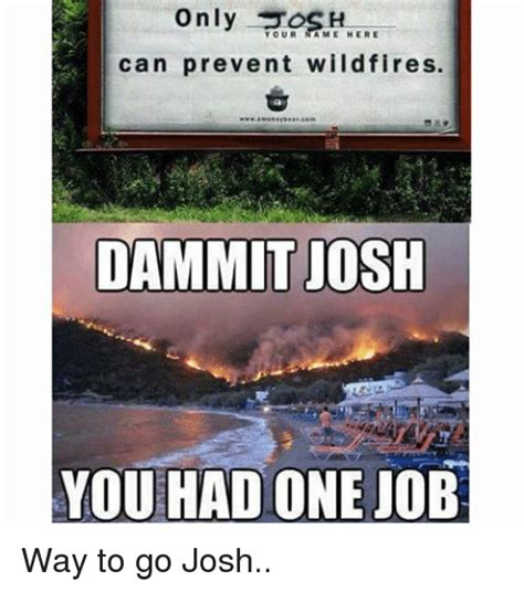 Only You Can Prevent Forest Fires Meme - your ame here can prevent wildfires dammit josh you had one job way to go josh jobs meme on sizzle