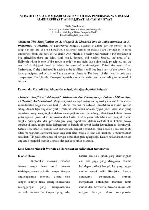 (PDF) STRATIFIKASI AL-MAQASID AL-KHAMSAH DAN PENERAPANNYA