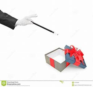 Magician Holding A Magic Wand Over A Gift Royalty Free ...