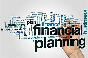 Financial Planning Word Cloud Concept On Grey Background