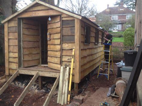 waney edge shed build  wooden workshop oakford devon