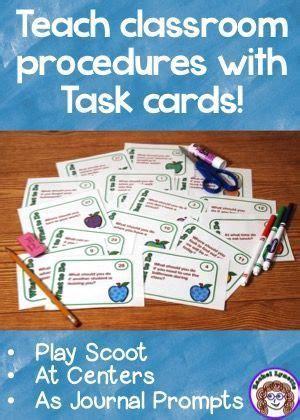 Classroom Procedure Task Cards   Classroom procedures ...