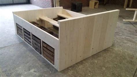 steigerhout bed maken tekening steigerhout bed met fruitkistjes bouwtekening