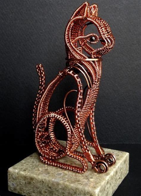 copper wire cat art kaleidoscope