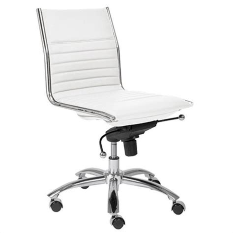 Office Chair With No Arms by Eurostyle Dirk Low Back No Arms In White Chrome 422850