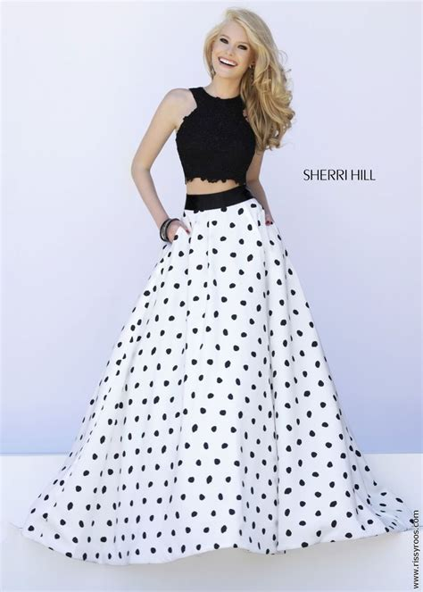 polka dot high waist a line dress sherri hill 32215 2pc black lace crop top with white and