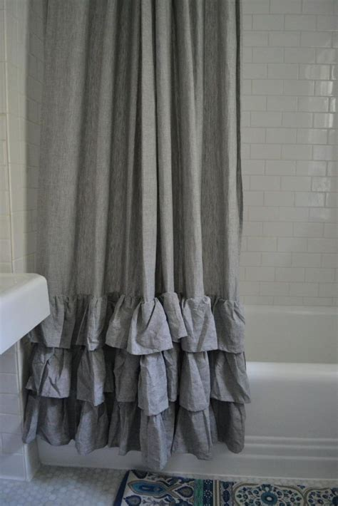 gray ruffle blackout curtains 25 best ideas about ruffle shower curtains on