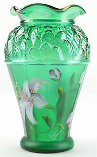 fenton glass vase Fenton Art Glass Collectible Green Carnival Vase Designer ...