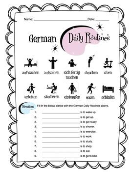 german daily routines worksheet packet  sunny side
