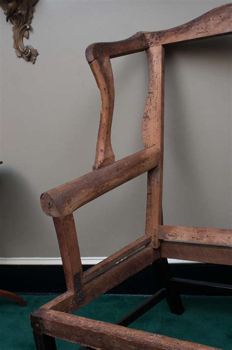 pair of carved and upholstered mahogany wing chippendale wing chair frame at 1stdibs