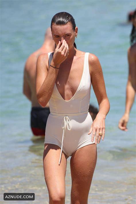 Montana Cox Sexy In A White Risque Swimsuit On Bondi Beach