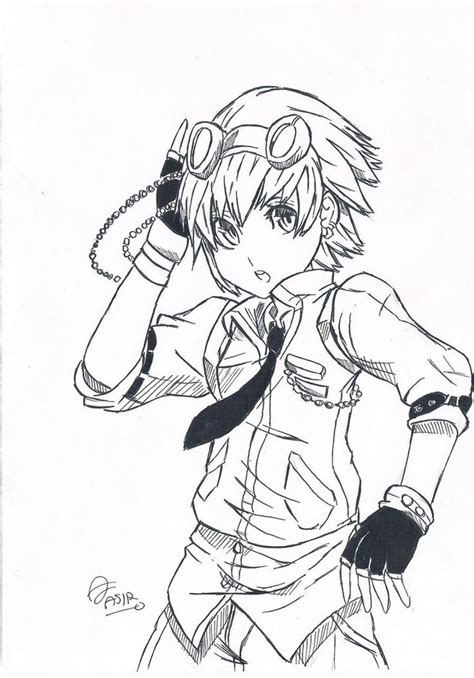 easy anime drawings steampunk character simple drawing