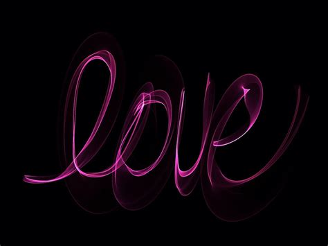 illustration neon love glowing writing