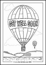 Well Soon Coloring Colouring Balloon Printables Printable Air Card Sheet Message Comments Wells Freebie Druckvorlagen Besserung Gute sketch template