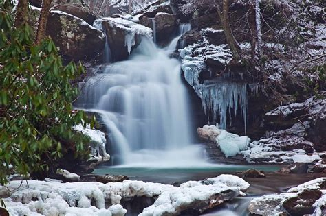 winter waterfall ice snow rocks