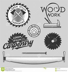 Vintage Set Of Carpentry Logos, Labels And Design Elements