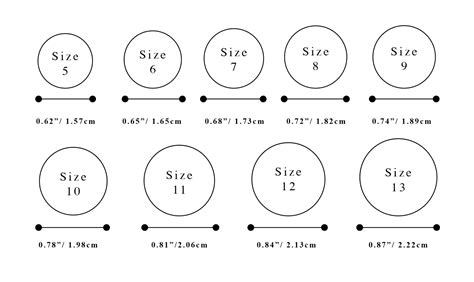 ring size chart for printable