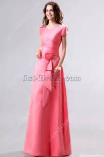 bridesmaids dresses with sleeves modest coral v neckline sleeves bridesmaid dress 1st dress