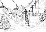 Ski Lodge Coloring Sketch Rysunek Template Mountain sketch template