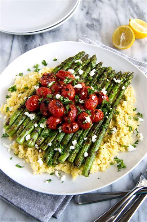 lemon millet  grilled asparagus  blistered tomatoes