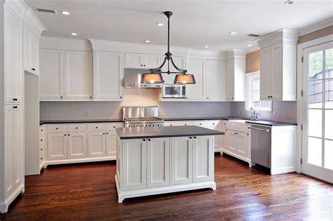 kitchen with floors white cabinets black granite wood floors for 6507