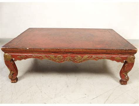 Lacquered chinese style coffee table, 1930s. Chinese coffee table lacquered wood golden dragon phoenix ...